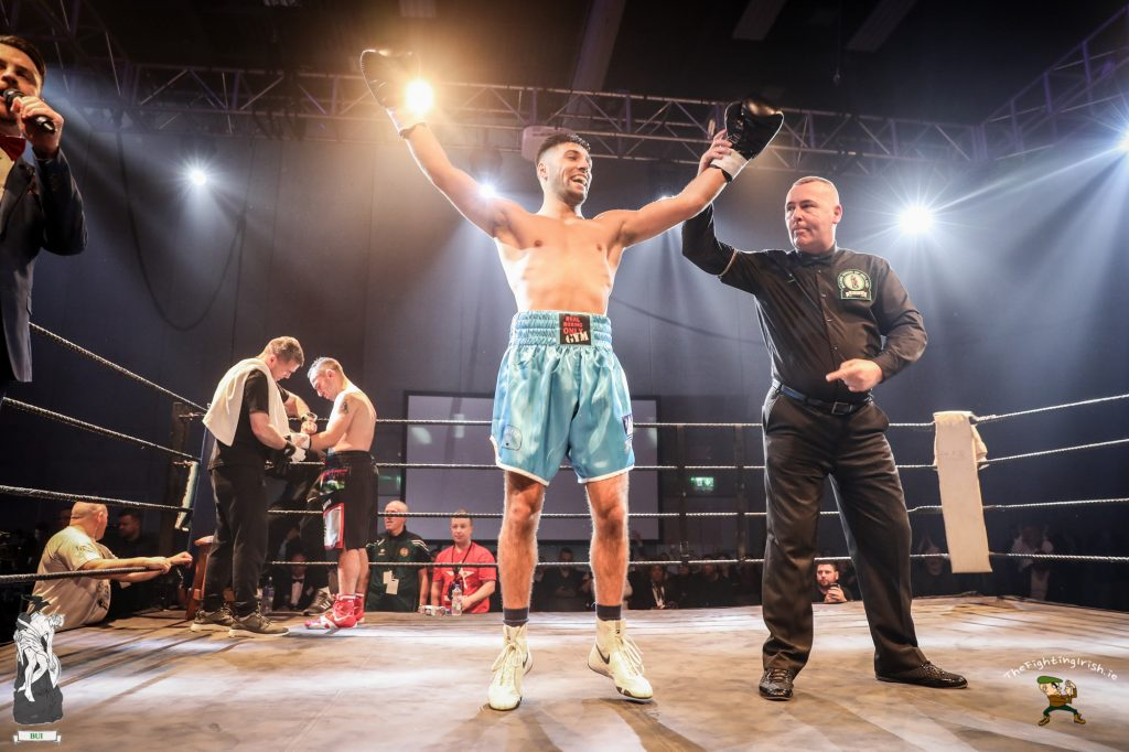 Waterford's Rohan Date gets the win over Jade Karam at the WIT Arena Waterford on the Ring Kings promotions card on the 17/2/18. Photo credit: Ricardo Guglielminotti / thefightingirish.ie