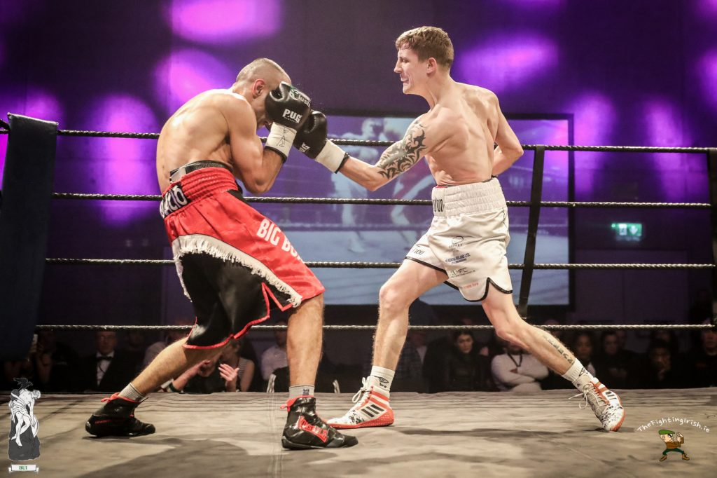 Kildare's Eric Donovan gets the win over Ignac Kassai at the WIT Arena Waterford on the Ring Kings promotions card on the 17/2/18. Photo credit: Ricardo Guglielminotti / thefightingirish.ie