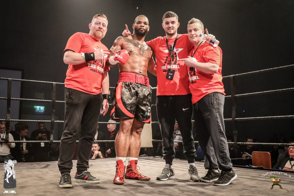 Cork's Mike Perez gets the win over Pablo Matias Magrini at the WIT Arena Waterford on the Ring Kings promotions card on the 17/2/18. Photo credit: Ricardo Guglielminotti / thefightingirish.ie