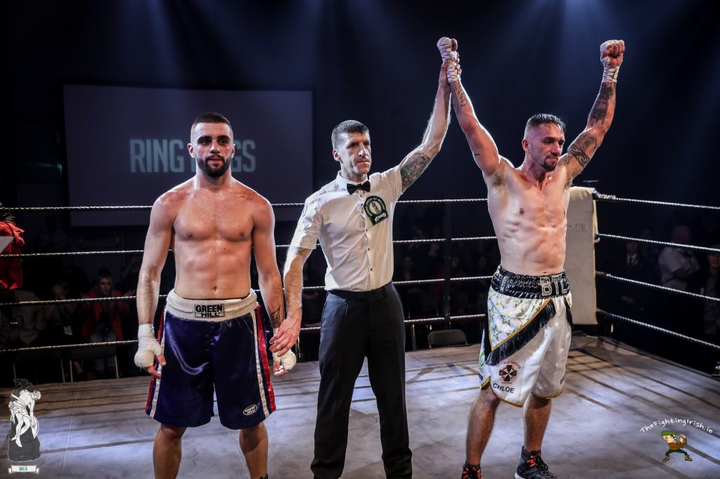 Waterford's Craig McCarthy gets the win over Teodor Lozanov at the WIT Arena Waterford on the Ring Kings promotions card on the 17/2/18. Photo credit: Ricardo Guglielminotti / thefightingirish.ie