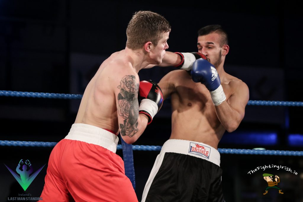 Dylan Moran gets the win over Gyula Rozsas on the undercard of Last Man Standing, 3/3/18 at the National Stadium.  Photo credit: Ricardo Guglielminotti / Last Man Standing