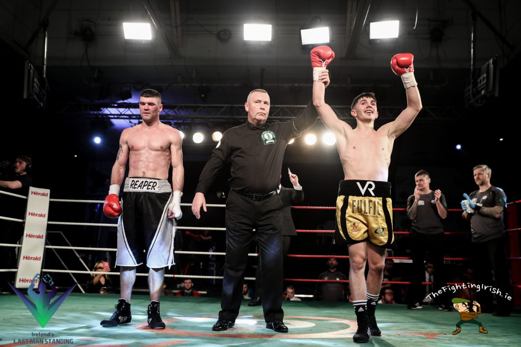 Victor Rabei gets the win over Mark Morris on the undercard of Last Man Standing, 3/3/18 at the National Stadium.  Photo credit: Ricardo Guglielminotti / Last Man Standing