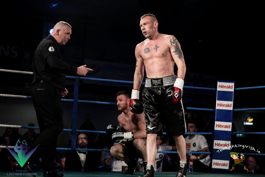 JJ McDonagh gets the win over Ger Healy in the Last Man Standing quarter finals, 3/3/18 at the National Stadium.  Ricardo Guglielminotti / Last Man Standing