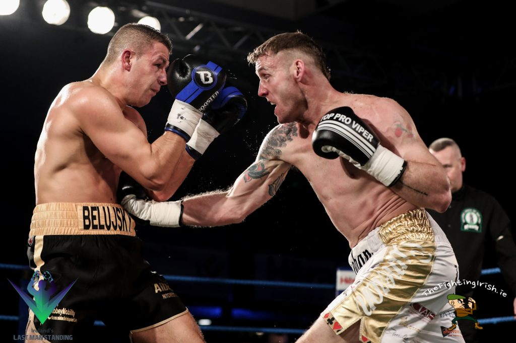 Roy Sheahan gets the win over Vladimir Belujsky in the Last Man Standing quarter finals, 3/3/18 at the National Stadium.  Photo credit: Ricardo Guglielminotti / Last Man Standing