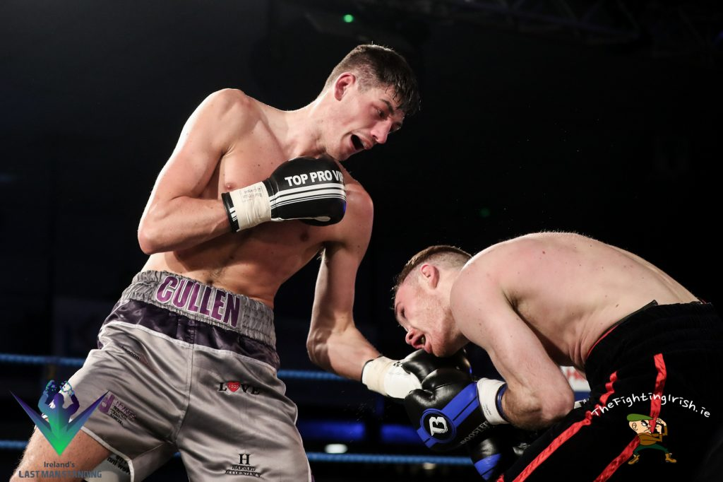 Jack Cullen gets the win over Nick Quigley in the Last Man Standing quarter finals, 3/3/18 at the National Stadium.  Photo credit: Ricardo Guglielminotti / Last Man Standing