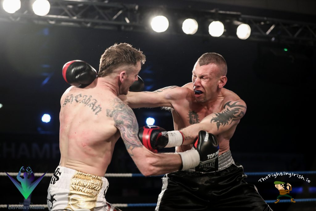 Roy Sheahan gets the win over JJ McDonagh in the Last Man Standing semi finals, 3/3/18 at the National Stadium.  Photo credit: Ricardo Guglielminotti / Last Man Standing