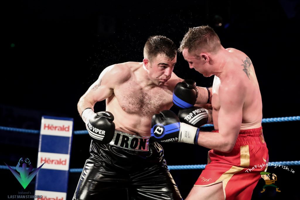 Light Middleweight 10 x 3 Craig O'Brien gets the win over Jay Byrne for the vacant Irish Light Middleweight title, 3/3/18 at the National Stadium. Photo credit: Ricardo Guglielminotti / Last Man Standing